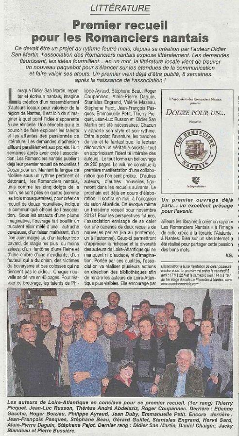 Echo de l'ouest Article Février 2013